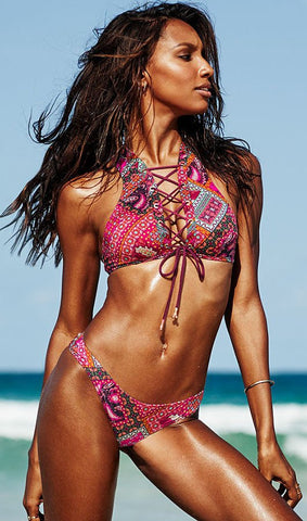 Bohemian Print Lace Up Bikini Set