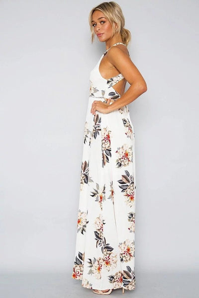 White Floral Slit Maxi Dress