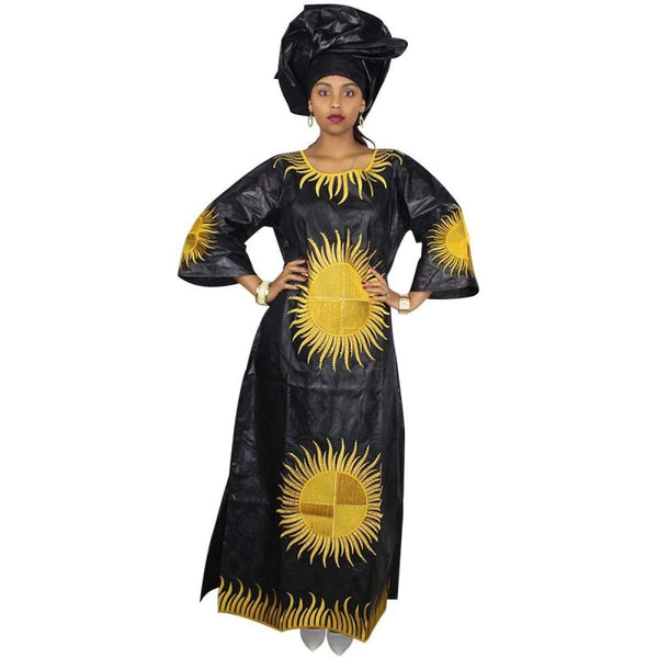 African Bazin Embroidery Design Long Dress with Scarf 2Pc 100% Cotton X21301