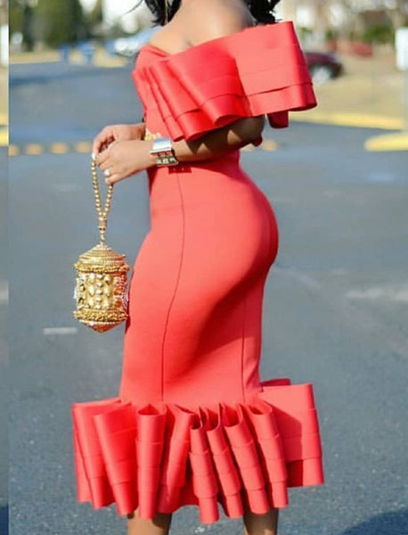 One Shoulder Tassel Irregular Bodycon Dress