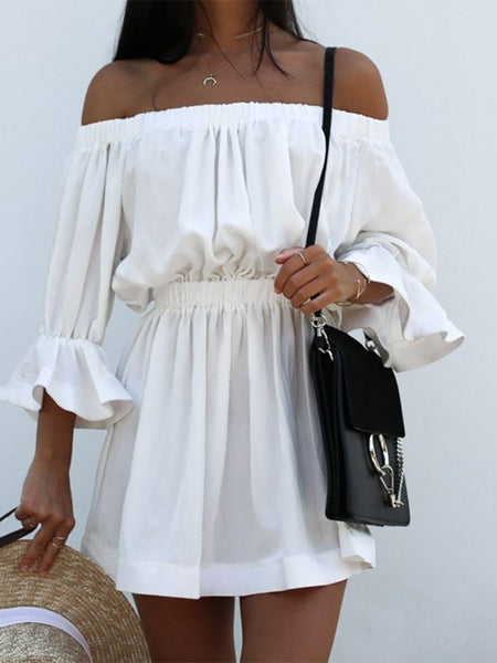 Trendy Shirring Off Shoulder Ruched Casual Dress