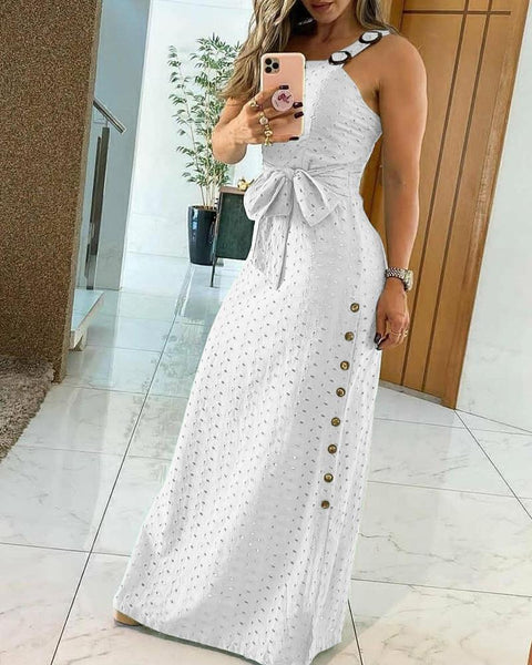 Thick Strap Hollow Out Maxi Dress