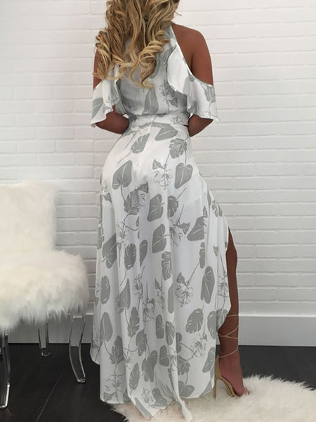 Leaves Print Off Shoulder Romper Maxi