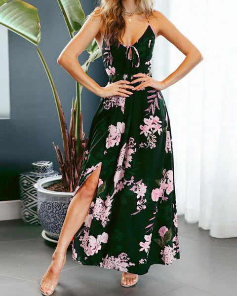 Lace-up Floral Print Backless Halter Sleeveless Slit Maxi Dress
