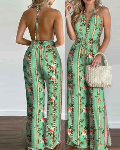 Halter Backless Slit Leg Floral Print Jumpsuit