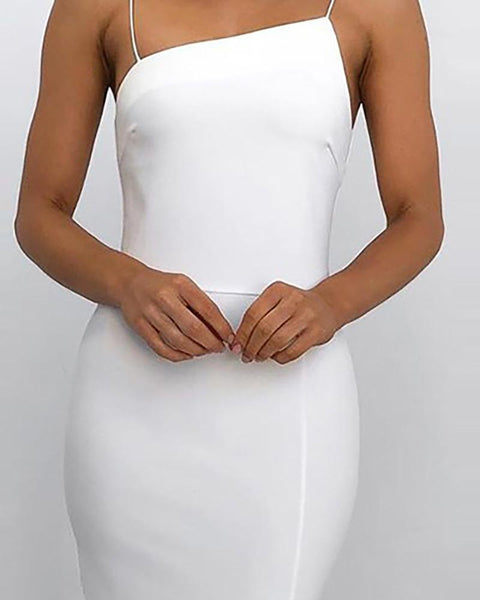 Spaghetti Strap Slit Bodycon Dress