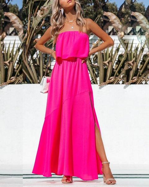 Off Shoulder Plain High Slit Maxi Dress