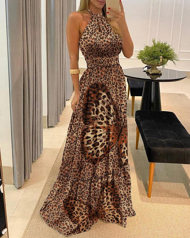 Leopard Butterfly Print Halter Backless Maxi Dress