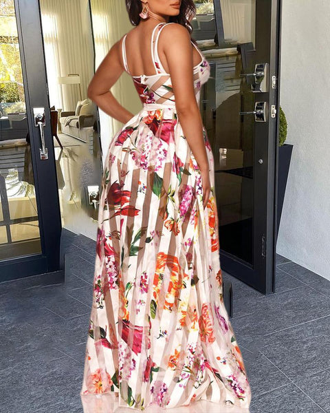 Sheer Mesh Patch Floral Print Maxi Dress
