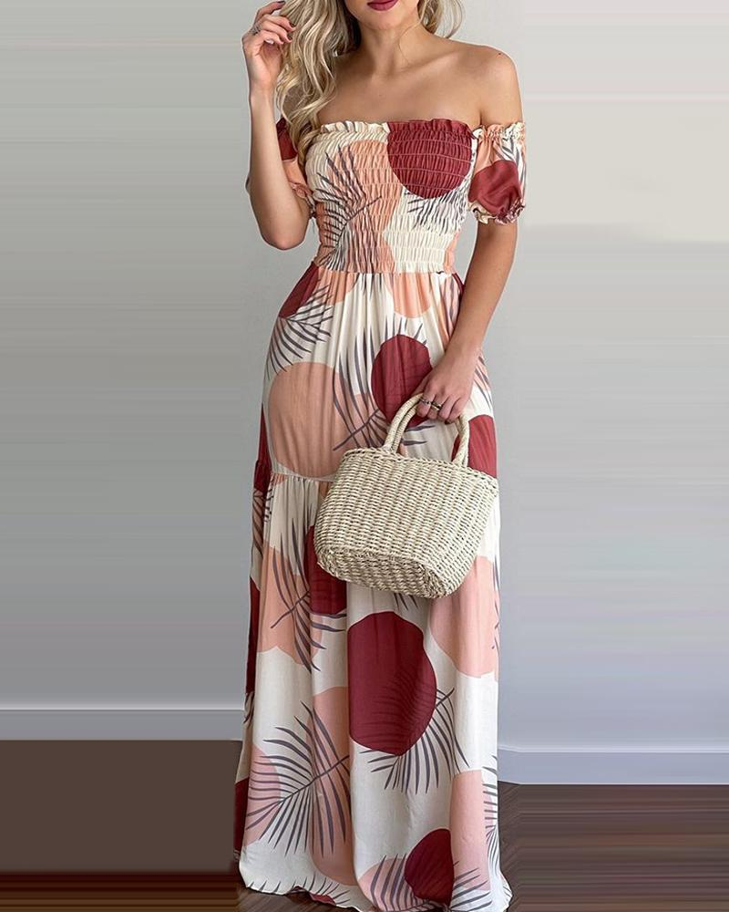 All Over Print Off Shoulder Shirring Maxi Dress