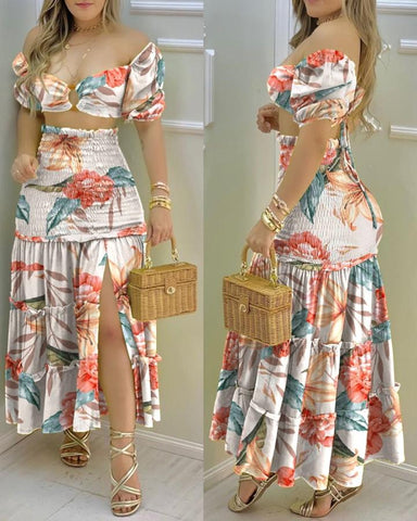 Floral Print Crop Top & Frill Hem Shirred Slit Maxi Skirt Set