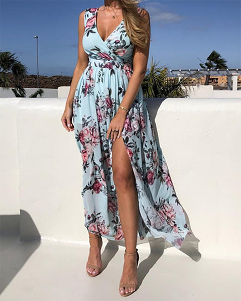 Vacation Style All Over Print Skinny Waist Sleeveless Slit Chiffon Maxi Dress