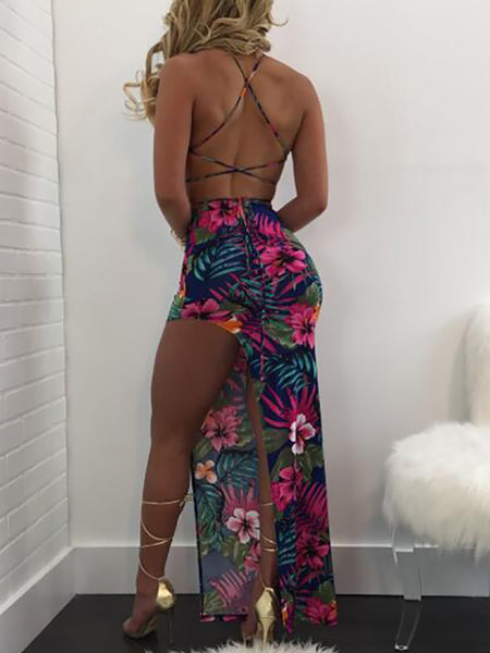 Floral Crisscross High Slit Bandage Skirt Set