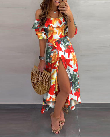 Off Shoulder Tropical Print Scallop Trim High Slit Dress