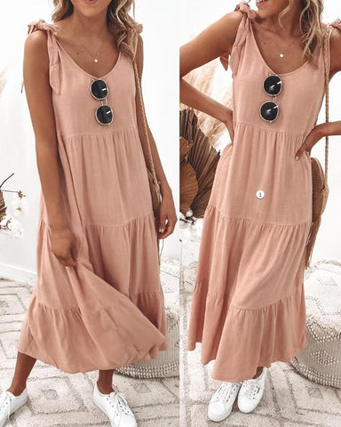 Tied Detail V-Neck Ruched Casual Maxi Dress
