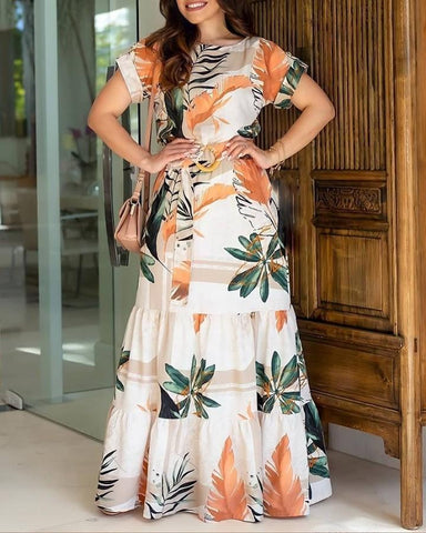 Tropical Print Short Sleeve Maxi Dress