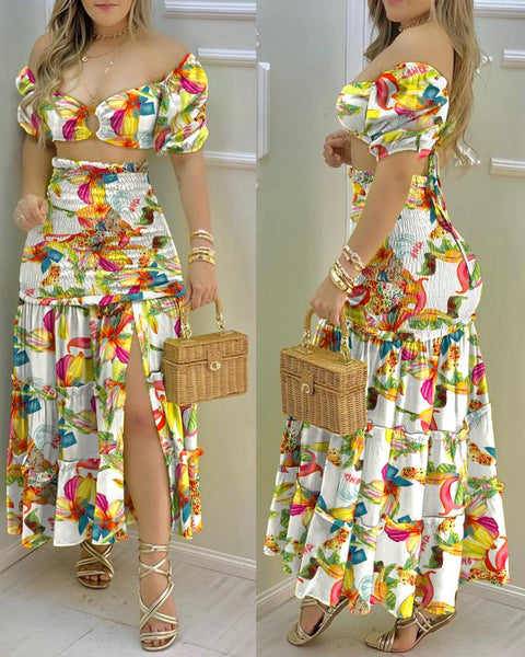 O-Ring Floral Print Crop Top & Frill Hem Shirred Slit Maxi Skirt Set