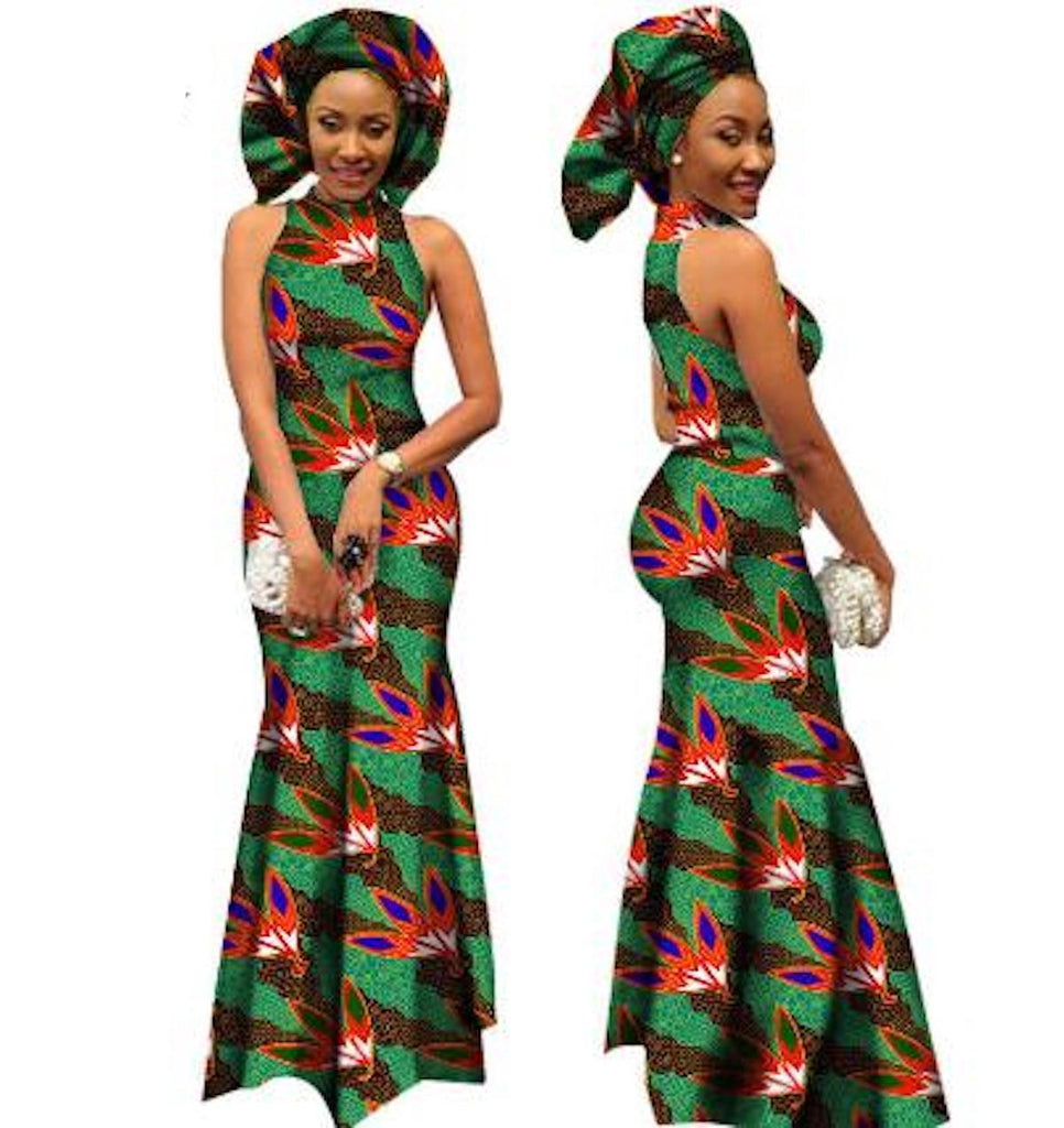 African Wax Print Formal Dress With Scarf for X11486