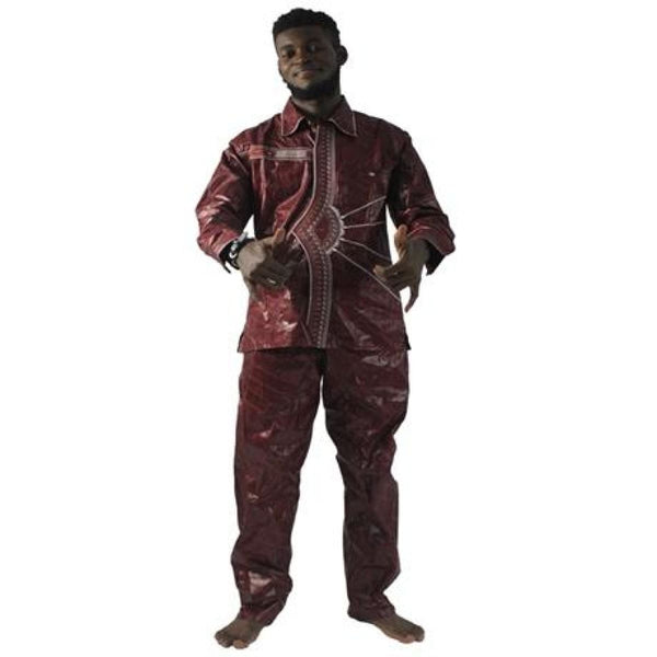 African Clothing Men Traditional Dashiki Bazin Riche Embroidery Top-Pant Y20757