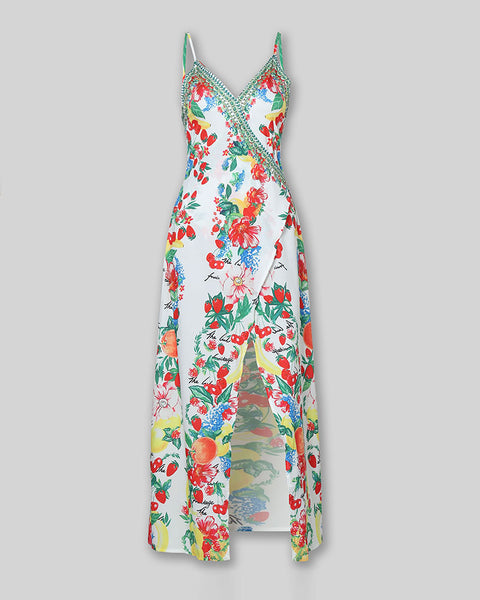 Boho Print High Slit Deep V Slip Maxi Dress