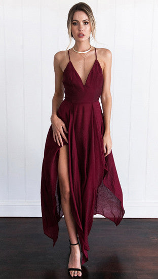 Stylish Low Cut Irregular Split Maxi Slip Dress