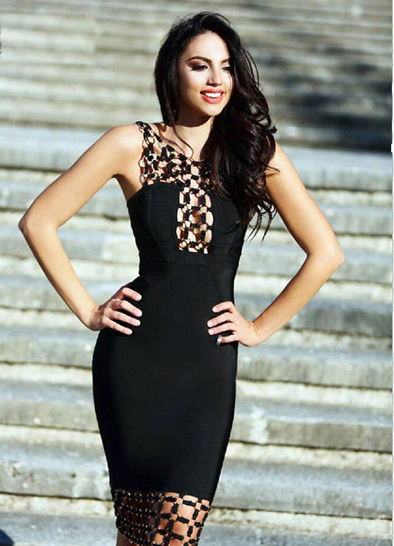 Naples black gold decor luxe bandage dress