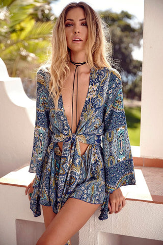 Blue Bohemia Print Cut Out Waist Romper