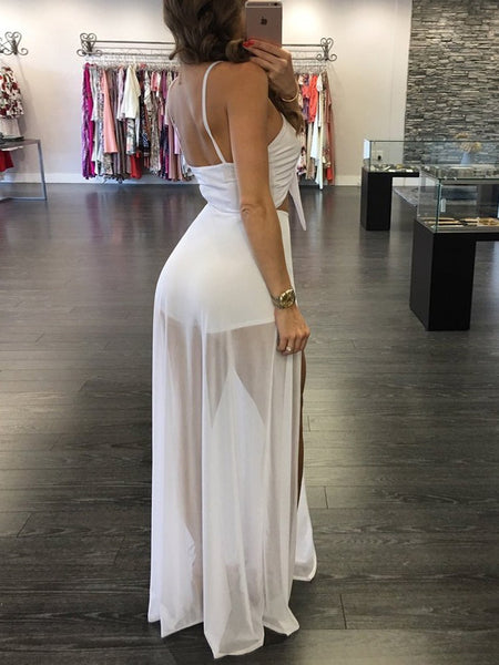 Trendy Twisted High Slit Maxi Romper Dress
