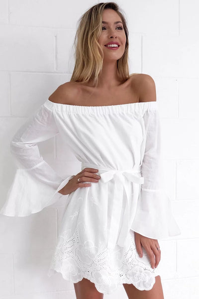 Shirring Off Shoulder Flared Drop Hem Tied Casual Dress