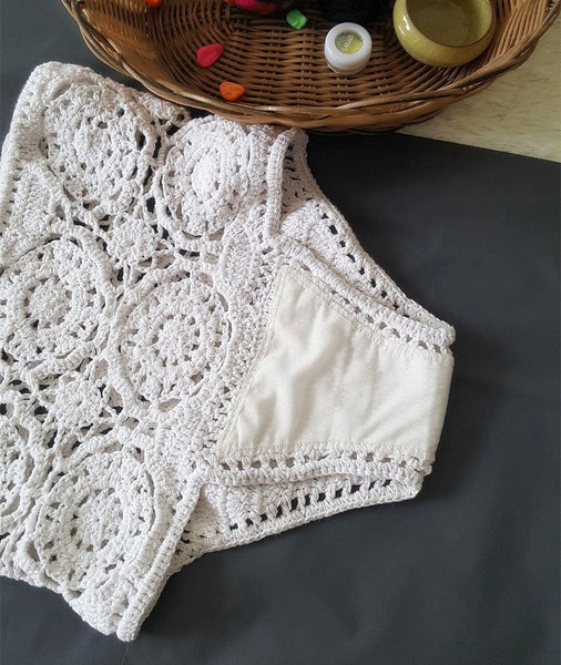 Crochet Hollow Bikini Set