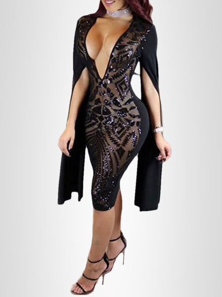 Sexy Deep V Neck Sequins Nightclub Dress