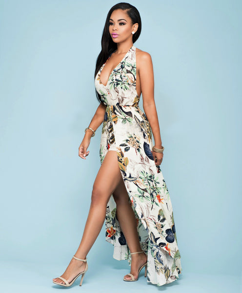 Sexy Halter Split Floral Maxi Romper Dress