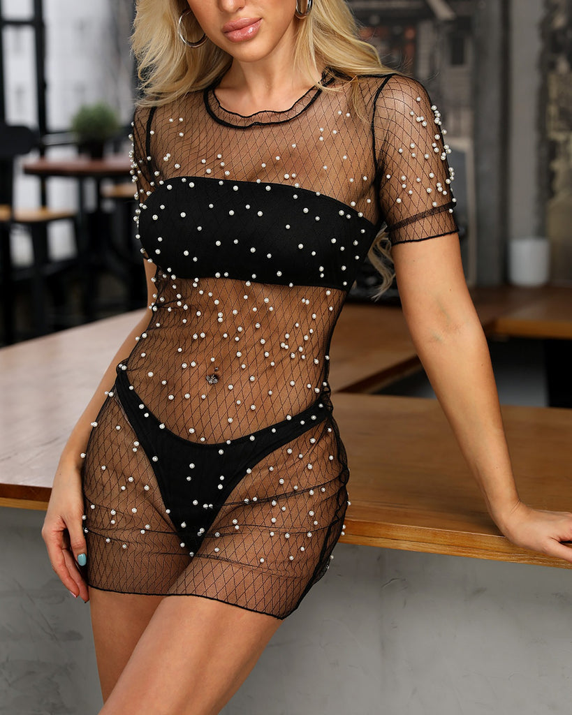 Shiny Embellished Sheer Mesh Dress With Bikini