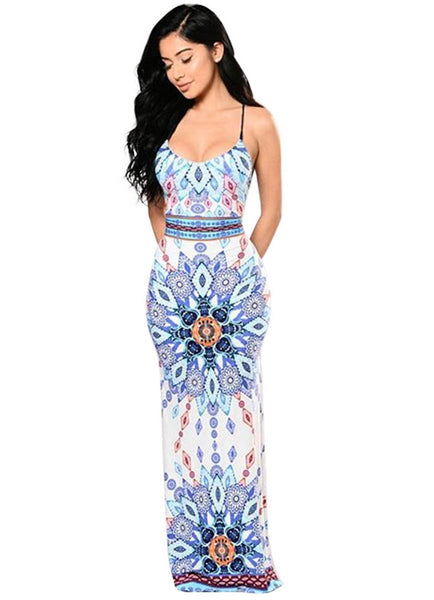 kuwait dark blue multi-color aztec print maxi dress