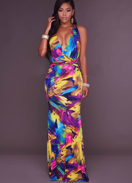 Yellow Printed Halter Neck Maxi Dress