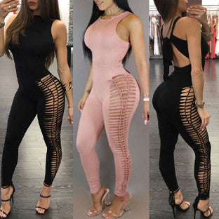 Women Fashion Leg Ripped Skinny Jumpsuit