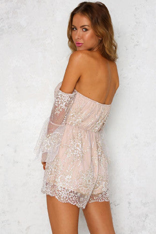 See Through Off Shoulder Embellished Wrap Romper