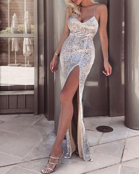 Spaghetti Stap Thigh Slit Sequin Evening Dress