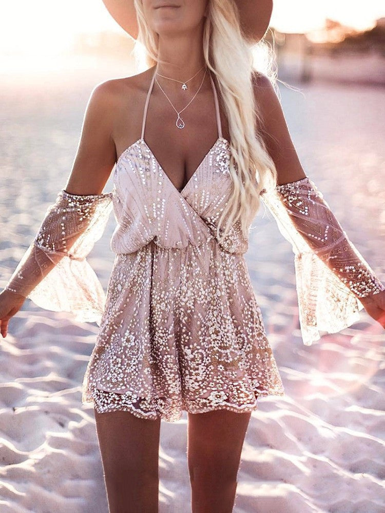 547616200da Sale See Through Off Shoulder Embellished Wrap Romper