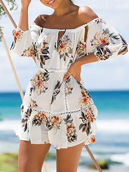 Trendy Off Shoulder Tied Ruched Floral Dress