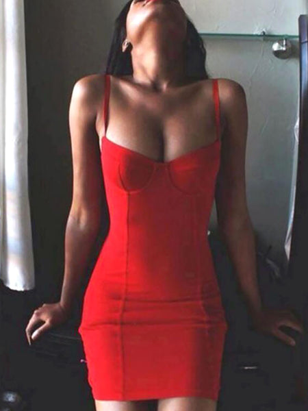 Sexy Spaghetti Strap Slinky Bodycon Dress