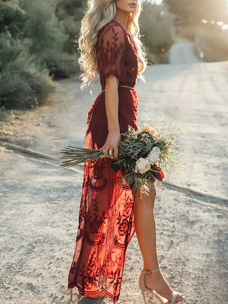 Stylish Lace Applique Maxi Romper Dress
