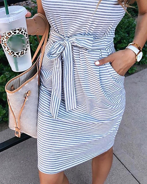 Striped Short Sleeve Pocket Casual Dress