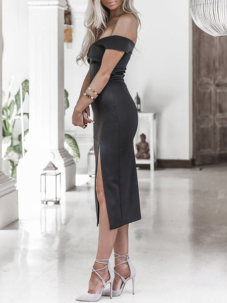 Elegant Off Shoulder Cross Slit Bodycon Dress