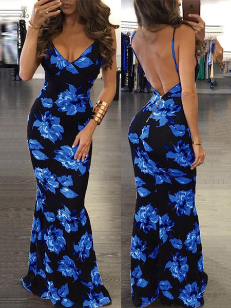 Floral Open Back Maxi Dress