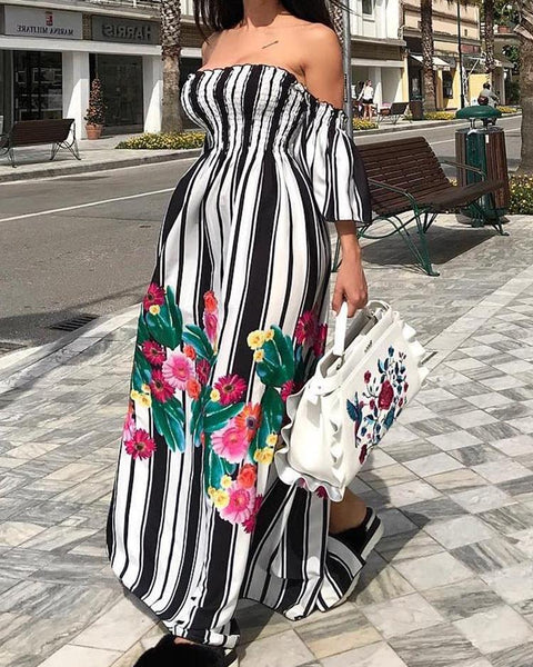 Floral & Striped Print Shirring Maxi Dress