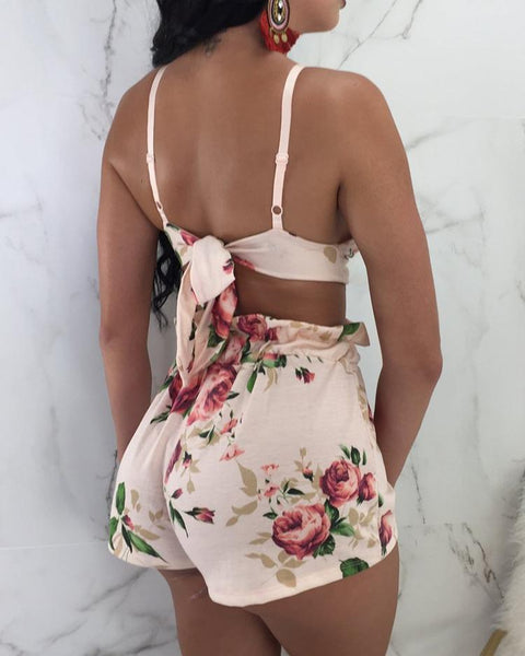 Floral Tied Back Top and Shorts Set