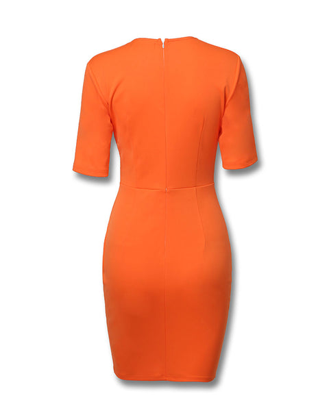 Buttoned Ruched Surplice Wrap Bodycon Dress