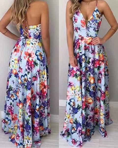 Floral Print Lace Up Back Maxi dress