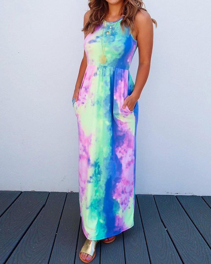 Tie Dye Print Sleeveless Casual Maxi Dress